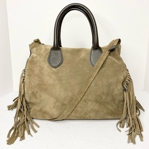 HS Collection Italy 'Fara' Fringe Suede 2-Way Bag